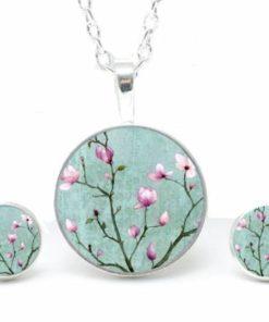 Set Kette mit Ohrringen zauberhafte Kirschblüten