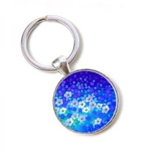 Schlüsselanhänger blaues Blumenmeer