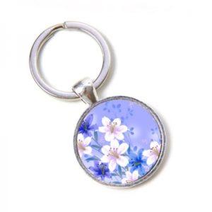 Schlüsselanhänger zarte creme farbene Blumen