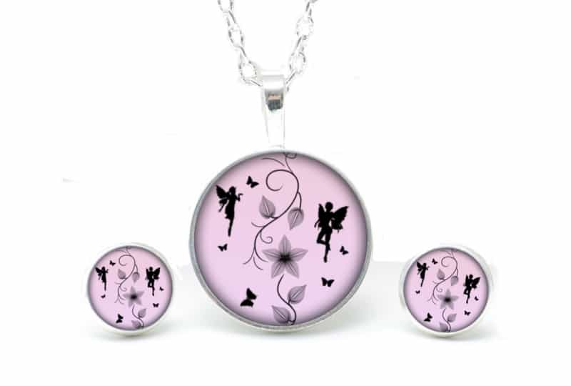 Set Kette mit Ohrringen Elfen in rosa