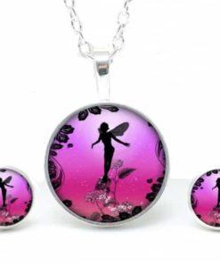 Set Kette mit Ohrringen Elfen in pink