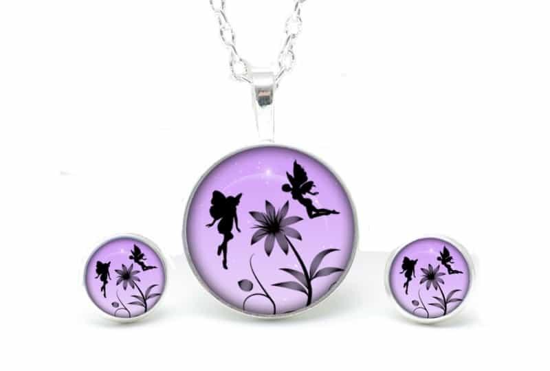 Set Kette mit Ohrringen Elfen in lila