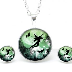Set Kette mit Ohrringen Elfe mit Adler grün