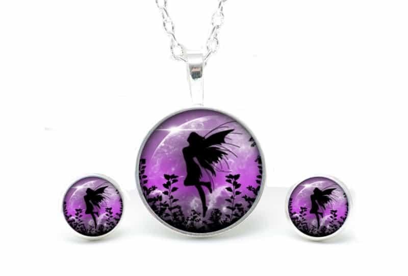 Set Kette mit Ohrringen Engle violet