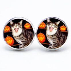 Druckknopf / Ohrstecker / Ohrhänger Halloween Katze mit Kürbis