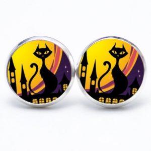Druckknopf / Ohrstecker / Ohrhänger Halloween Katze in der Stadt
