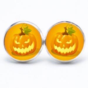 Druckknopf / Ohrstecker / Ohrhänger Halloween gehässiger Kürbis