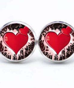 Druckknopf / Ohrstecker / Ohrhänger zwei Herzen