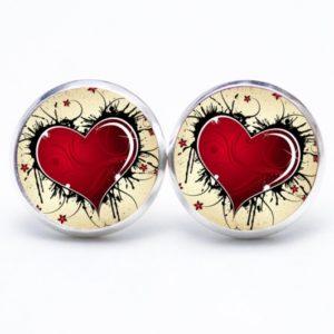 Druckknopf / Ohrstecker / Ohrhänger großes rotes Herz