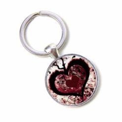 Schlüsselanhänger großes rot schwarzes Herz