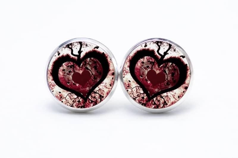 Druckknopf / Ohrstecker / Ohrhänger großes rot schwarzes Herz