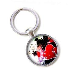 Schlüsselanhänger Herz mit rosa Blume