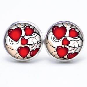 Druckknopf / Ohrstecker / Ohrhänger viele kleine rote Herzen