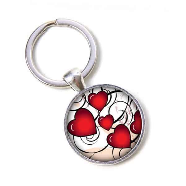 Schlüsselanhänger viele kleine rote Herzen