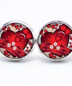 Druckknopf / Ohrstecker / Ohrhänger viele kleine rote Herzen mit großem Herz