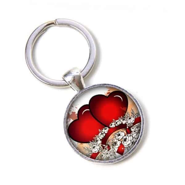 Schlüsselanhänger verliebte Herzen mit Blumen