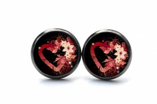 Druckknopf Ohrstecker Ohrhänger rotes Herz mit Blumen