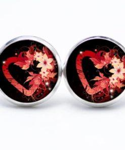 Druckknopf / Ohrstecker / Ohrhänger rotes Herz mit Blumen