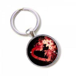 Schlüsselanhänger rosarotes Herz mit Blumen