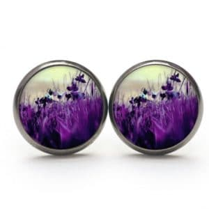 Ohrstecker / Creolen violette Wiese mit Blumen