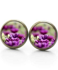 Druckknopf / Ohrstecker / Ohrhänger violette Magariten Blumen