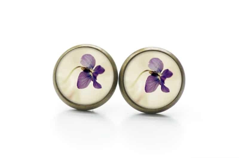 Druckknopf / Ohrstecker / Ohrhänger violette Orchidee