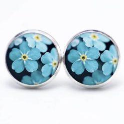 Druckknopf / Ohrstecker / Ohrhänger Vergissmeinnicht Blumen Blau