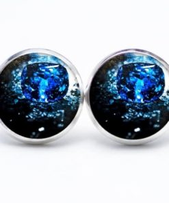 Druckknopf / Ohrstecker / Ohrhänger Eiswürfel in Blau