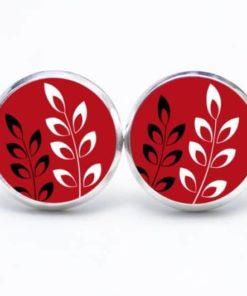 Druckknopf / Ohrstecker / Ohrhänger Blätter auf Rot