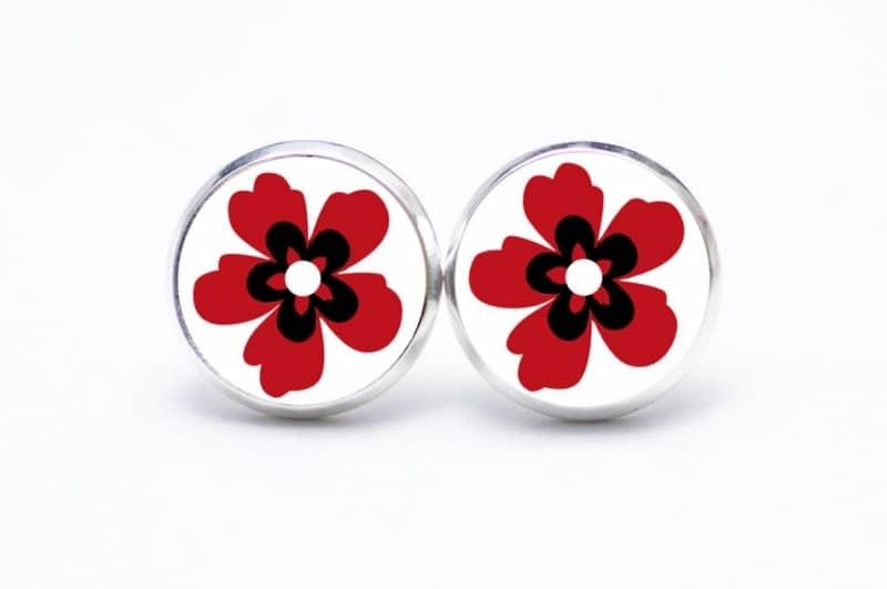 Druckknopf / Ohrstecker / Ohrhänger große rote Blume