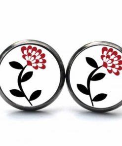 Druckknopf / Ohrstecker / Ohrhänger zarte rote Blume
