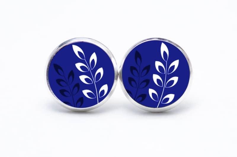 Druckknopf / Ohrstecker / Ohrhänger Blätter auf dunkelblau