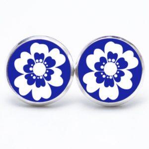 Druckknopf / Ohrstecker / Ohrhänger große dunkelblaue Blume