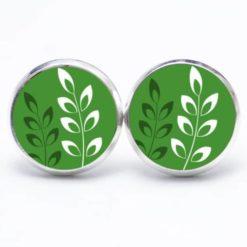 Druckknopf Ohrstecker Ohrhänger grün mit weißen Blättern