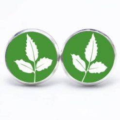Druckknopf Ohrstecker Ohrhänger grün mit weißem Blatt