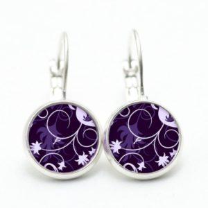 Ohrstecker / Ohrhänger mit floralem violettem Muster