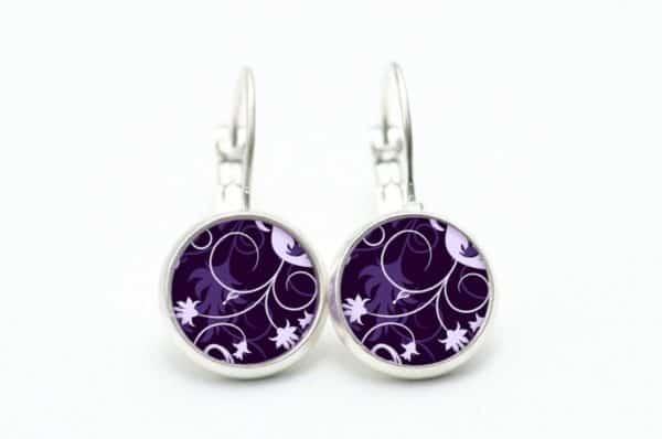 Druckknopf / Ohrstecker / Ohrhänger mit floralem violettem Muster