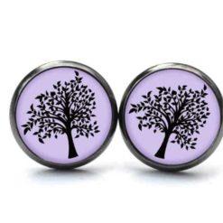 Druckknopf Ohrstecker Ohrhänger schwarzer Baum auf lila