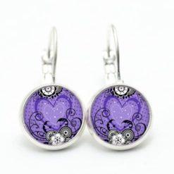 Druckknopf Ohrstecker Ohrhänger violettes Herz