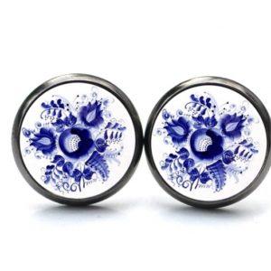 Ohrstecker / Ohrhänger romantische dunkelblaue Blumen im Gzhel Stil