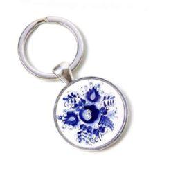 Schlüsselanhänger romantische dunkelblaue Blumen im Gzhel Stil