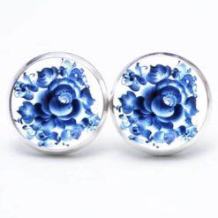 Druckknopf / Ohrstecker / Ohrhänger mit blauem floralem Muster Gzhel