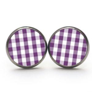 Ohrstecker / Creolen kariert violett