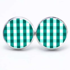 Druckknopf Ohrstecker Ohrhänger kariert smaragdgrün weiß