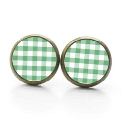 Druckknopf Ohrstecker Ohrhänger kariert grün weiß
