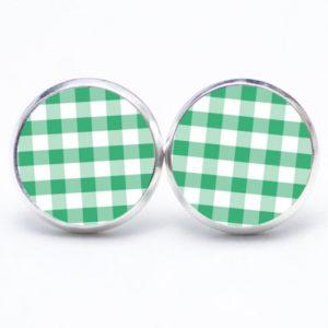 Ohrstecker / Creolen kariert grün