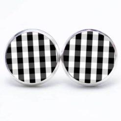 Druckknopf Ohrstecker Ohrhänger kariert schwarz weiß
