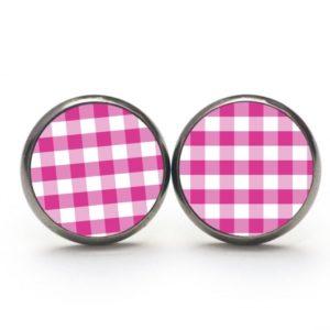 Ohrstecker / Creolen kariert pink
