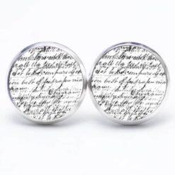 Druckknopf Ohrstecker Ohrhänger Text in schwarz und weiß