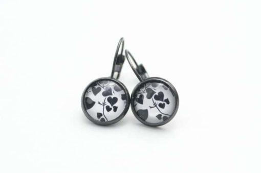 Druckknopf Ohrstecker Ohrhänger Herzen in schwarz und weiß